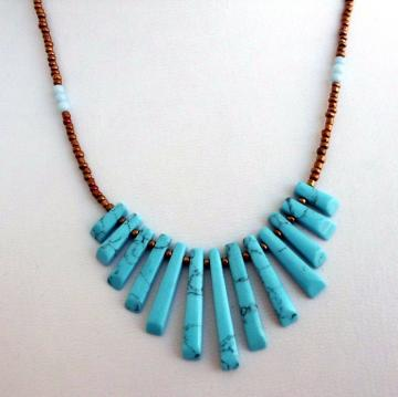 Delicate Turquoise Fan Necklace