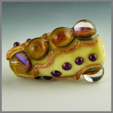handmade lampwork glass bead detailed focal stormed dots aventurine dark ivory gold - Spellbound II