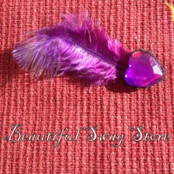  Valentine Purple Feather Hair Pin 