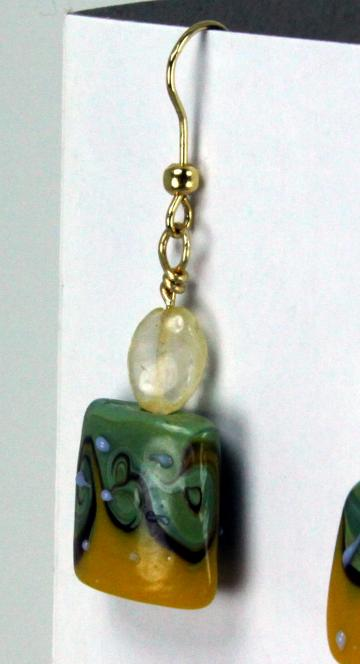 Earrings- Citrine &amp; Lampwork Dangles