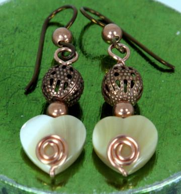 Earrings- Copper with Mother of Pearl Hearts