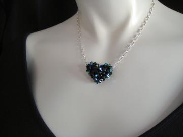'Black Heart' Necklace Set, Black AB Crystal Heart on Sterling Silver Chain with Matching Earrings - N125