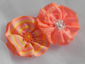 Orange Ribbon Flower Clip Duo