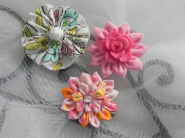 Fabric Flower Trio - Clips