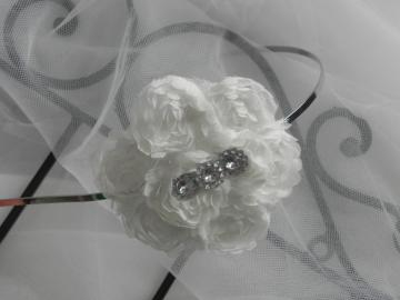 White Rosette Trim Metal Headband