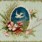 2 Digital SCANS Antique FRENCH Bird Postcard Pink Roses Turquoise Friendship script Dove