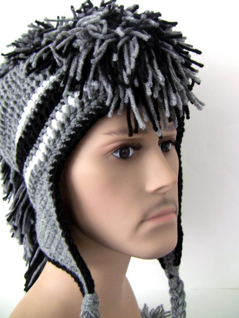 Gray and Black Mohawk Hat by Unexpected Treasure on Zibbet