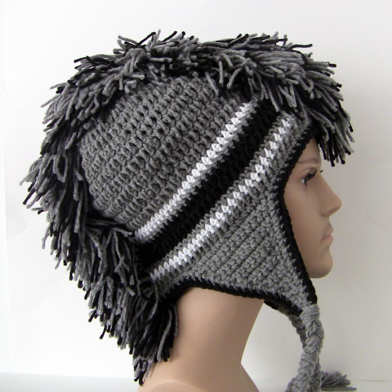 Crochet Mohawk : Gray and Black Mohawk Hat - Custom Made to Order - Crochet