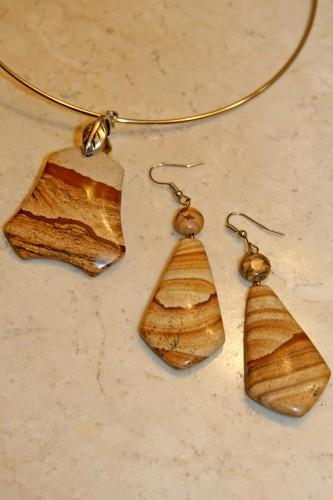 Picture Jasper Gemstone Pendant and Earrings