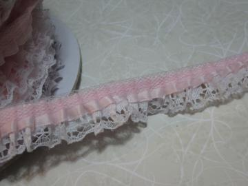 1yd - Lt. Pink Ruffled Satin on White Lace