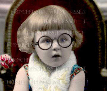 1920s Blue eyed Girl with GLASSES antique French Postcard DIGITAL scan Art Deco Retro Round Eyeglasses