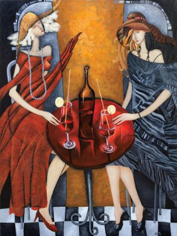 "ARTIST PRINTS arwork paintings by Yelena Dyumin Deco art, MODERN figurative art - 40x30"" Tet a tet - Large Abstract print on canvas"