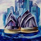 ORIGINAL SIGNED Painting painters artists artworks Sydney Harbor Australia painting pictures by modern artist