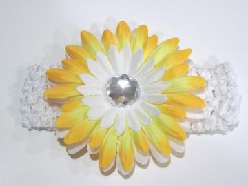 "4"" Crystal Gerber Daisy Flower on Crochet Headband"