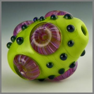 handmade lampwork bead bright green focal raised purple murrini dark green dots - Lime Surprise