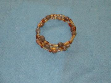 Double brown Jobs Tears bracelet with yellow and brown seed beads