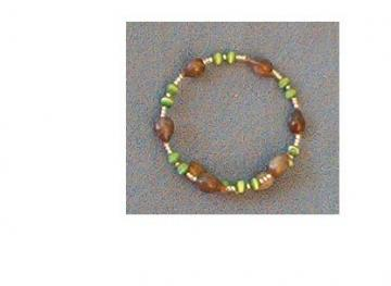 Bracelet with brown Jobs Tears, cats eye and seed beads