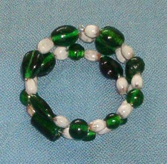 Green glass beads and white Jobs Tears bracelet