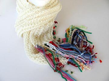 Fun Rainbow Fringe White Scarf