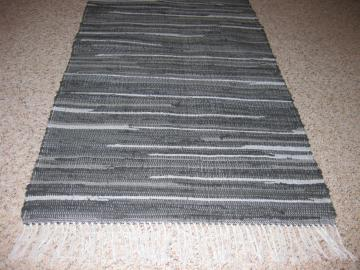 Handwoven Gray Rag Rug 25 x 29