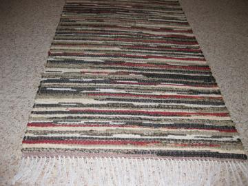 Handwoven Rust, Tan, Kaki, Brown Rag Rug 25 x 66