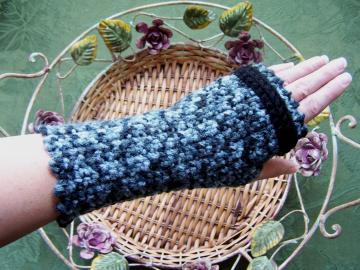 Black & Shades of Grey Fingerless Gloves with Black Trim