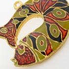 1 Vintage 24 x 32 mm Enameled Art Deco Fish Pendant Rust, Sage Black Gold