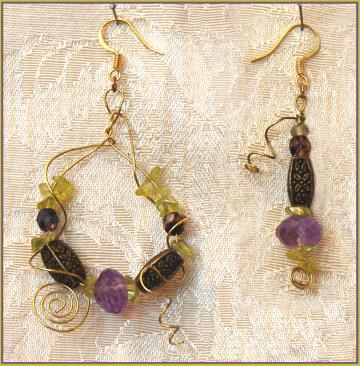 Amethyst Abstract Wirework Earrings