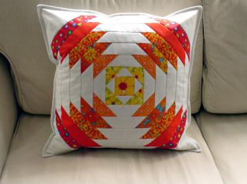 patchwork pillow-white,orange,yellow and red