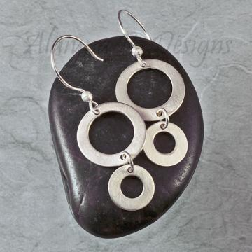 Matte Sterling Silver Earrings with a Brushed Satin Finish