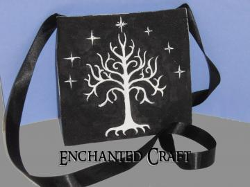 hand painted White Tree of Gondor small bag- for the fan of Lord of the Rings