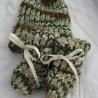 Variegated Green & Brown Baby Booties & Hat Set