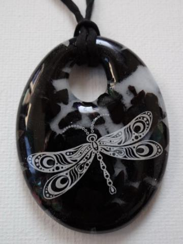 Dragonfly in Black Fused Glass Pendant