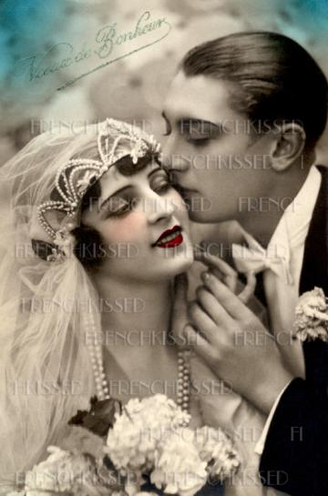 Art Deco WEDDING Bride Groom Pearl Beads Veil French DIGITAL scan Black and white or Sepia version