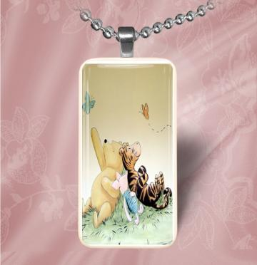 Classic Winnie the Pooh, Piglet and Tigger Domino Necklace