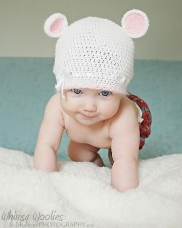 "PDF PATTERN: Baby beanie hat  ""Mimi Mouse"" - adorable, white/pink,/ photo prop with ribbon & ears. (6-9 months)"