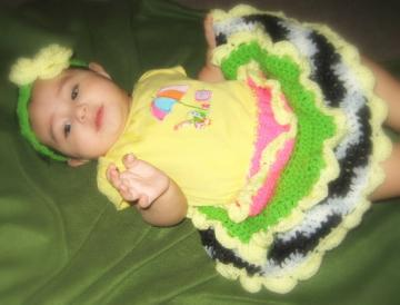 Baby Girl Ruffle Skirt Pink, Lime Green and Zebra With Matching Headband Crochet