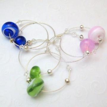 Handmade Lampwork Glass And Silver Wine Charms Blue Green Pink