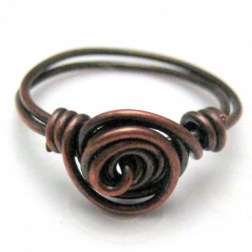 Copper Single Spiral Handmade Wire Wrapped Ring Size 8 R 1001