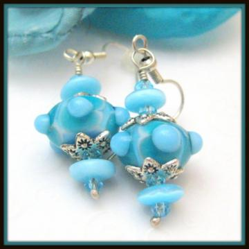 Silver and Turquoise Blue Handmade Lampwork Glass Dot Bead Earrings