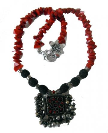 Afghanistan Square Pendent  &amp; Coral Necklace