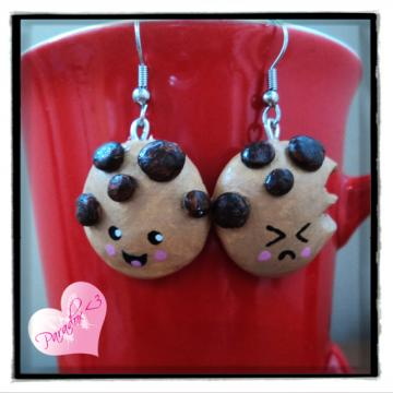 Cute Kawaii Kitsch Japan Clay Handmade Happy & Angry Cookie Earrings