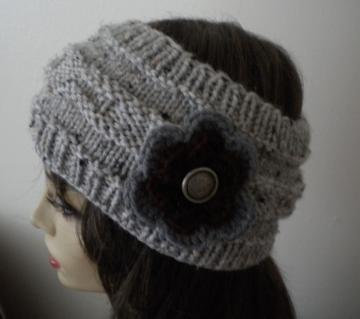 Gray Tweed Flower Headband