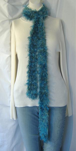 Handmade Blue and Green Fluffy Woolen SCARF