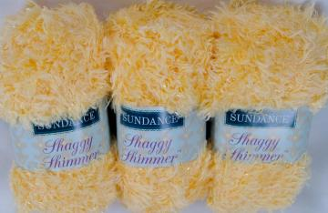 3 skeins Sundance Shaggy Shimmer Eyelash Fur Yarn - Yellow Daffodil
