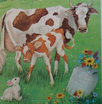 Vintage Cow and Calf Golden Frame Tray Puzzle Western Publishing