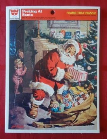 Vintage Whitman Frame Tray Puzzle Peeking at Santa 1979
