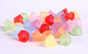 30 mixed color flower tulip acrylic lucite frosted trumpet beads 10mm 30pc (414)