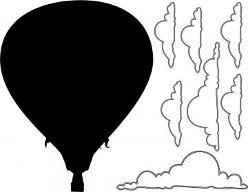 Hot Air Balloon Chalkboard Decal Set