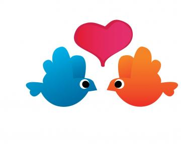 Blue and Orange Love Birds Vinyl Decal